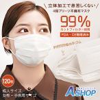 マスク 不織布 120枚入り 立体 プリーツ 3D 4段 BFE VFE PFE 99% 使い捨て 平ゴム 耳が痛くなりにくい 耳紐 大人 女性 子供 防塵 花粉 飛沫感染 対策 ny402