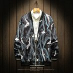 スカジャン メンズ ジャンパー ブルゾン 鶴刺繍 カジュアル おしゃれ アウター 横須賀風 大きいサイズあり