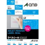 A-one エーワン インクジェットプリンタラベル 光沢紙ラベル A4判 4面 はがき用 10シート 品番 28693