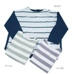 長袖Tシャツ 子供服 男の子 女の子 ワイドボーダー ブルーアズール BLUEU AZUR 110cm 120cm 130cm 55%OFF メール便OK RW85