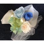 プリザードフラワー ケース付き 花色(ブルー・水色)青系 ヘッドアクセサリーやコサージュやブーケ、飾れるギフト