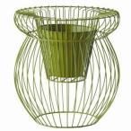 フラワーバスケット植木鉢カバー スケルトンα 高さ72cm アイアン&樹脂製ポット 穴無 グリーン(緑) (ガーデニング用品園芸)   ガーデニング