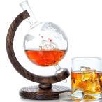 地球儀 エッチング デカンタ グラスデカンタ ウイスキーデカンター 1000ml Etched Globe Whiskey Decanter Glass Decanter for Scotch, Rum, Tequila, Liquor