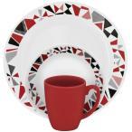 コレール リビングウェアー ディナーウェアー モザイク レッド 食器16点セット Corelle Livingware 16-Piece Dinnerware Set, Mosaic Red, 1119376