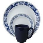 コレール リビングウェアー ディナーウェアー トゥルーブルー 食器16点セット Corelle Livingware 16-Piece Dinnerware Set, True Blue, 1114046