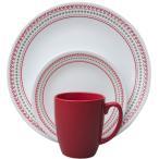 コレール リビングウェアー ディナーウェアー ホリデー ステッチ 食器16点セット Corelle Livingware 16 piece Dinnerware Set, Service for 4, Holiday Stitch