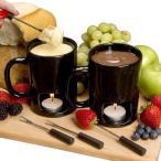 パーソナルフォンデュマグ 2セット ブラック チョコフォンデュ チーズフォンデュ Evelots Personal Chocolate & Cheese Fondue Mug Set, Black