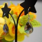 (輝き・魅力up)良質天然石 ピアス アバロン(夜光貝) しずく形 チタンフック/樹脂フック/キャッチタイプ変更可