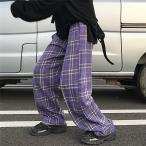 パープル チェック パンツ レディース メンズ ユニセックス パープル 紫色 ボトムス 原宿系 韓国ファッション ダンス衣装