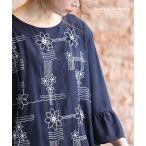 レディース トップス ブラウス シャツ 紺 ネイビー 7分袖 フレア袖 大人可愛い 40代 レディースファッション 50代女性 ファッション 60代 ミセスファッション