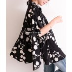 ワイドシルエットの花柄シャツ トップス シャツ ブラウス ブラック 花柄 ドルマン レディース レディス サワアラモード 大人 可愛い 洋服 30代 40代 50代 60代