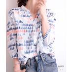 レディース トップス シャツ ブラウス 総柄 プリント 五分袖 コットン 綿 ブルー キーネック 秋服 大人可愛い 大人 可愛い 30代 40代 50代 60代 サワアラモード