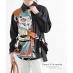 レディース トップス ブラウス シャツ スカーフ柄 ブラック 長袖トップス シャツブラウス リボン 大人可愛い 大人 可愛い 30代 40代 50代 60代 サワアラモード
