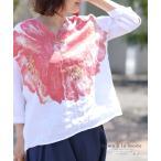 レディース トップス ブラウス シャツ シャツブラウス 花 麻 リネン 7分袖 夏 森 大人可愛い 40代 レディースファッション 50代女性 ファッション 60代 ミセス