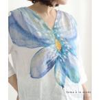 レディース トップス ブラウス シャツ シャツブラウス 花 リネン 夏服 大人可愛い 40代 レディースファッション 50代女性 ファッション 60代 ミセスファッション