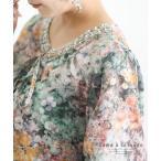 レディース トップス チュニック ブラウス シャツ 緑 グリーン 7分袖 大人可愛い 40代 レディースファッション 50代女性 ファッション 60代 ミセスファッション