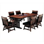和風モダン ダイニングテーブル 7点セット 風雅 天板 うずくり仕上 6人掛け 190テーブル×1 肘有椅子×2 肘無椅子×4