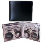 ポールスミス 財布 Paul Smith 二つ折り財布 メンズ ブラック ラジカセプリント ARXC 4833 W777 B Made in ITALY