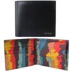 ポールスミス Paul Smith 財布 二つ折り財布 メンズ ブラック 世界地図プリント ATXC 4833 W886 79 Made in ITALY