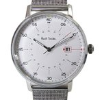 ショッピングポールスミス ストラップ ポールスミス Paul Smith 時計 腕時計 メンズ ゲージ GAUGE ホワイト×シルバー ステンレスベルト P10075