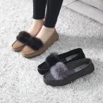 ショッピングフラット フラットパンプス レディース ペタンコ スエード ミンクファー 2017 秋 冬 ファッション 靴 婦人靴