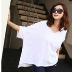 40代 50代 ファッション 女性 トップス レディース 春夏 Tシャツ 無地 白 ゆったり ドルマン 体型カバー