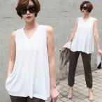 ショッピングノースリーブ ノースリーブTシャツ 白 Vネック 無地 きれいめ 30代 40代 夏 レディースファッション 黒