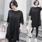 トップス レディース 40代 50代 60代 ファッション 女性 上品  黒 白 グレーチュニック Tシャツ 半袖 無地 春 ミセス