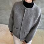 ジャケット レディース 40代 50代 60代 ファッション おしゃれ 女性 上品  ベージュ  グレー ハーフ丈 ノーカラー ウール混 秋 ミセス
