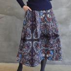 スカート レディース 40代 50代 60代 ファッション おしゃれ 女性 上品  赤  紺 青 防寒スカート 中綿 ペイズリー柄 ロング丈 ロングスカート 冬 ミセス