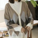 ニットカーディガン レディース 40代 50代 60代 ファッション おしゃれ 女性 上品 ウール混紡 アーガイル 長袖 春秋冬物 高品質 ミセス