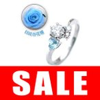 CanCam掲載婚約指輪ダイヤモンド プラチナエンゲージリング11月誕生石ブルートパーズ 日比谷花壇誕生色バラ付