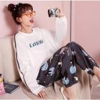 パジャマレディースルームウェア春秋冬綿セットアップ長袖上下セット大きいサイズ可愛いロングパンツゆったり寝巻き部屋着寝間着