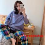 パジャマレディースルームウェア春秋夏セットアップゆったり綿長袖女性上下セットチェック柄可愛いロングパンツ韓国風寝巻き部屋着
