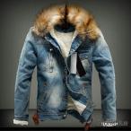 ファーフードデニムジャケット メンズ デニムジャケット Gジャン 裏ボア ジャケット 暖かい 防寒