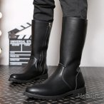 長靴 メンズ ペコスブーツ 裏起毛 ワークブーツ ロングブーツ レインシューズ ブーツ 革靴 皮靴 紳士靴 サイドZIP