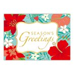 ハワイ クリスマスカード グリーティングカード メッセージカード ハワイアンカード Floral Holiday