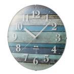 ショッピング電波時計 壁時計 電波時計 BURUNO (ブルーノ) イデア 電波ビンテージウッドクロック ブルー BCR008