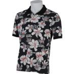 ルコック ゴルフ ウェア メンズ 春夏 QG2917 半袖 ボタン ポロ シャツ ブルーライン N151ブラック / 花柄 ボタニカル 2015SSCZ