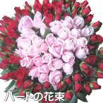 ハートバラの花束 バラ100本のブーケ プロポーズに108本プラスできます!