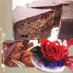 スイーツセット チョコレートケーキ(ザッハトルテ)とハートの器に真っ赤なバラ 枯れないお花プリザーブドフラワー