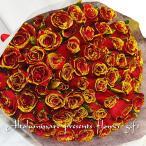 輝く赤バラの花束 100本バラのブーケ ディアマンテレッド100