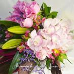 お見舞い花束 蘭と季節の花束