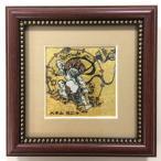 ジュエリー絵画 ジャポニズム 俵屋宗達 「雷神<RA1>」 正方形 SSサイズ 7.62×7.62cm 玄関インテリア壁飾り 額入りハンドメイド 宝石 宝飾品