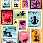 切手型のモチーフシール