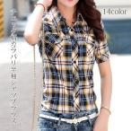 チェック柄 シャツ ブラウス チェックシャツ レディース トップス 半袖画像