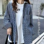 ボーダー シャツ レディース 羽織 春 春服 春物 ライトアウター ビッグシャツ フード付き 大きいサイズ ゆったり 綿100% トップス