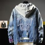 デニムジャケット メンズ Gジャン パーカー 厚地 ジージャン カジュアル ヴィンテージ 英文字 ダーメージ加工 フード付き 新品
