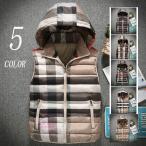 ベスト メンズ ダウンベスト 中綿ベスト チエック柄 ジャケット ライトアウター 大きいサイズ 軽量 秋冬