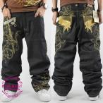 ジーンズ メンズ ジーパン ストレート ワイド ワイドパンツ バギーパンツ デニム ルーズ 刺繍 ヒップホップ 夏